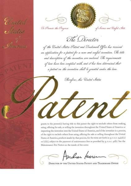 Breaking News! We obtained the U.S. patent certificate